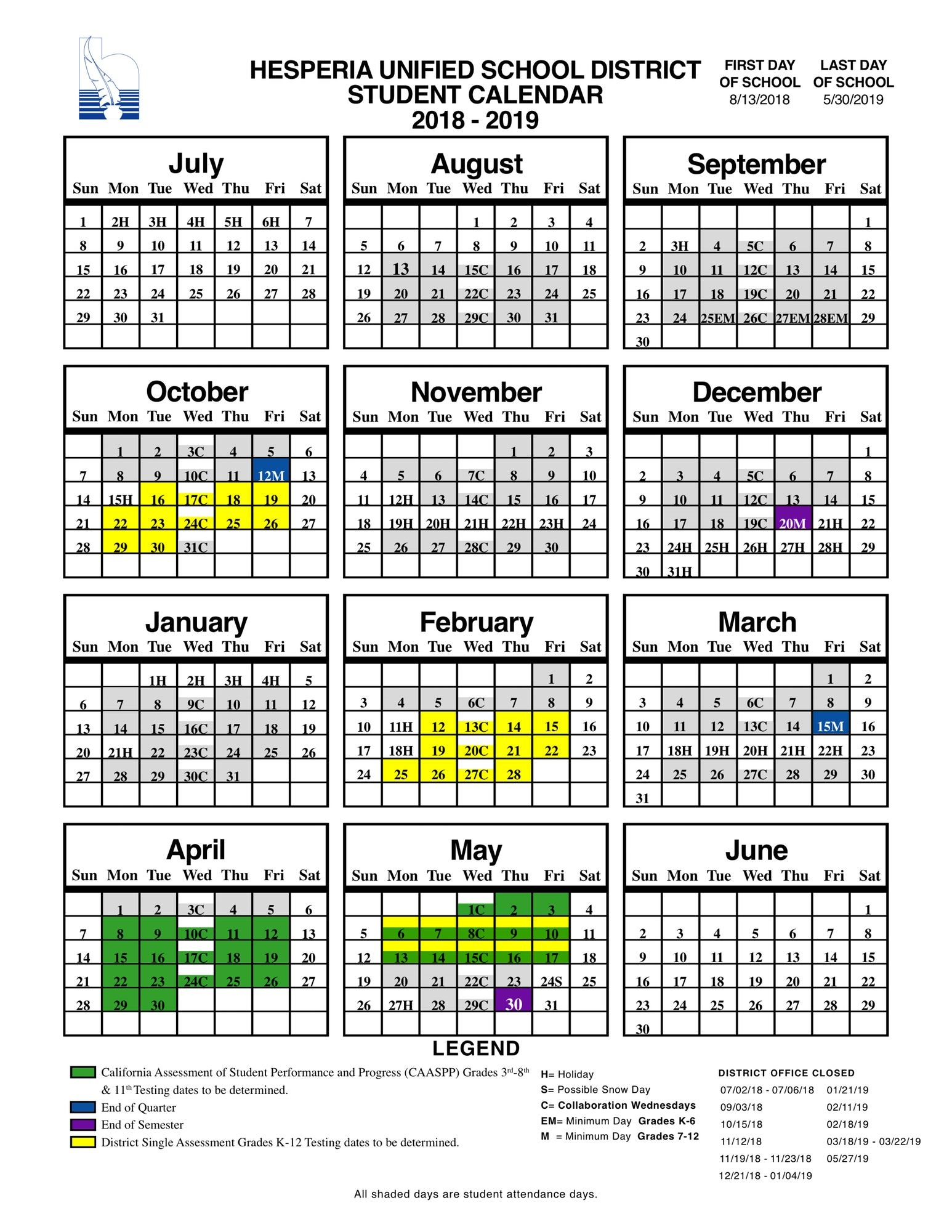Davis School District Calendar 2020-21 Hesperia Unified School District Student Calendar 18/19   Hesperia