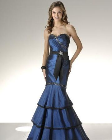 deep blue mermaid layer tail strapless wedding dresses