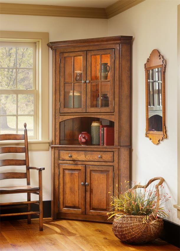 Amish Shaker 2-Door Corner Hutch Vitrinas, Esquineros y Muebles