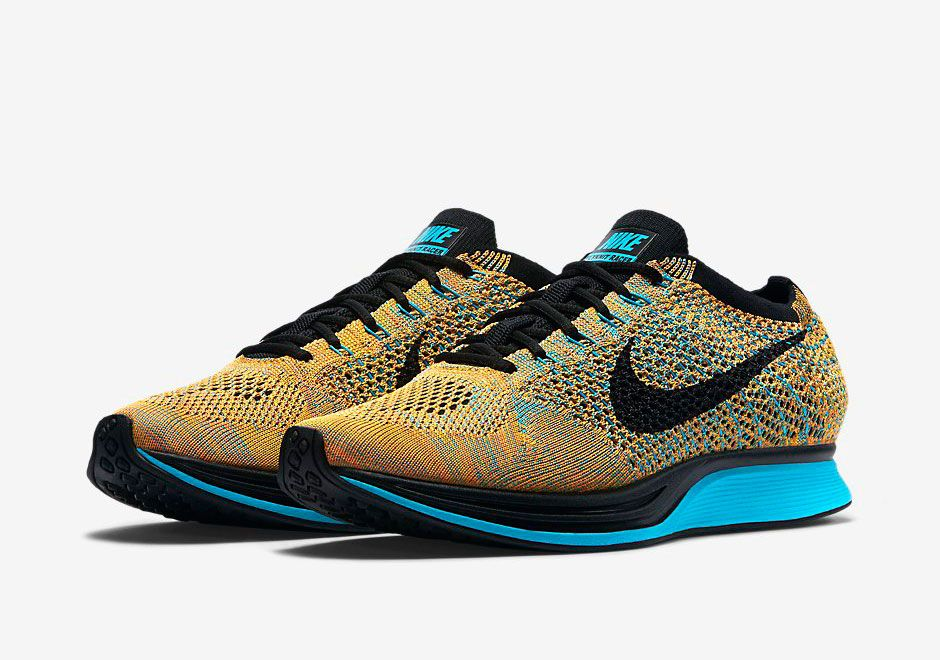 Nike shoes outlet · Nike Flyknit Racer - Bright Citrus - Blue Lagoon -  SneakerNews.com