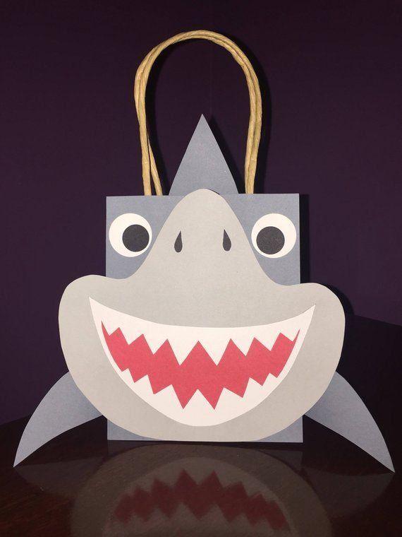 Shark Party Favor Gift Bag / Goodie Bag / Bags for Kids / Birthday / Printable / Digital Download