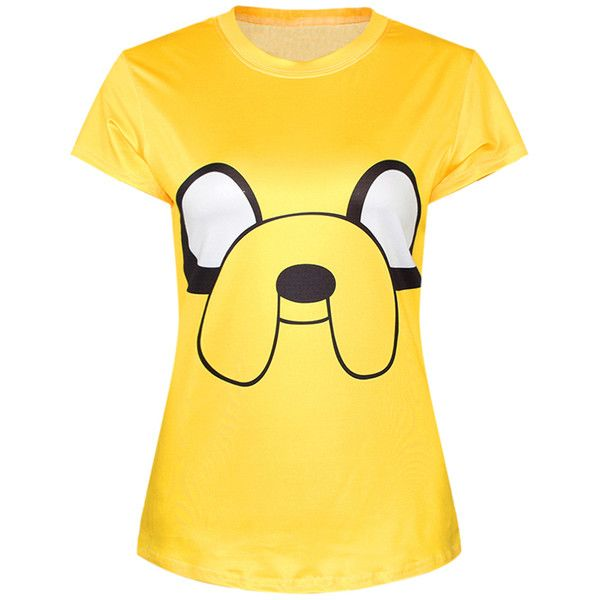 Yellow Ladies Crew Neck Cartoon Adventure Time Jake Print T-shirt ($11) ❤ liked on Polyvore featuring tops, t-shirts, shirts, yellow, print t shirts, pattern t shirt, crew neck tee, crew shirt and cartoon character t shirts