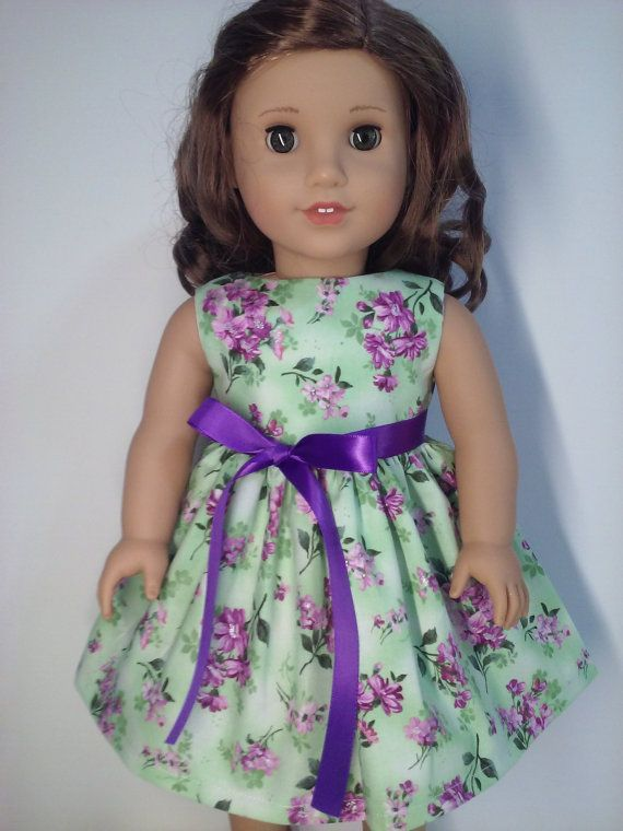 Purple Satin Dress with Flower Trim Fits 18 inch American Girl Dolls