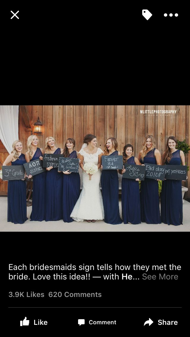 Each bridesmaid right how they know the bride