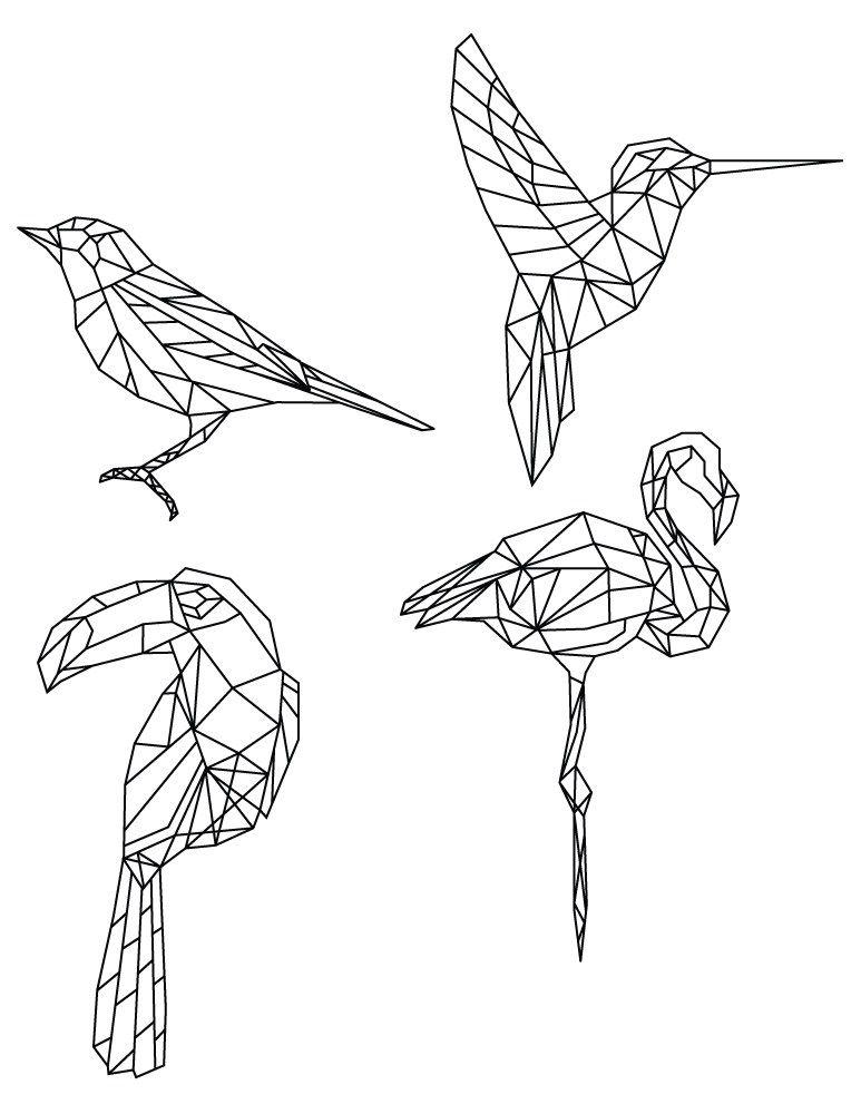 Dessin De Coloriage Polygonal Divers Oiseaux Polygon Art