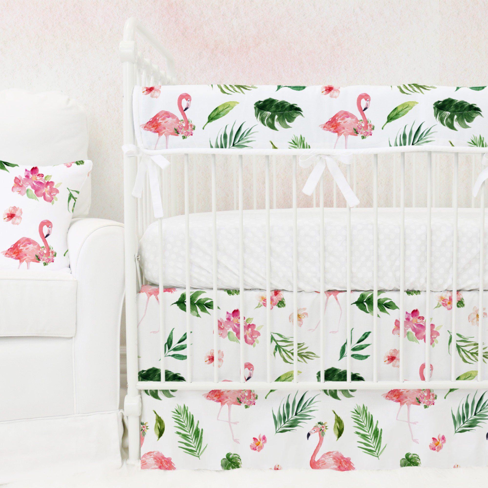 Tropical Floral Flamingo's 3-Piece Bumperless Crib Bedding ...