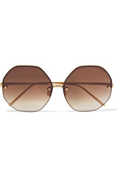 Linda Farrow Woman Cat-eye Acetate And Gold-tone Mirrored Sunglasses Light Gray Size Linda Farrow OCwnSw