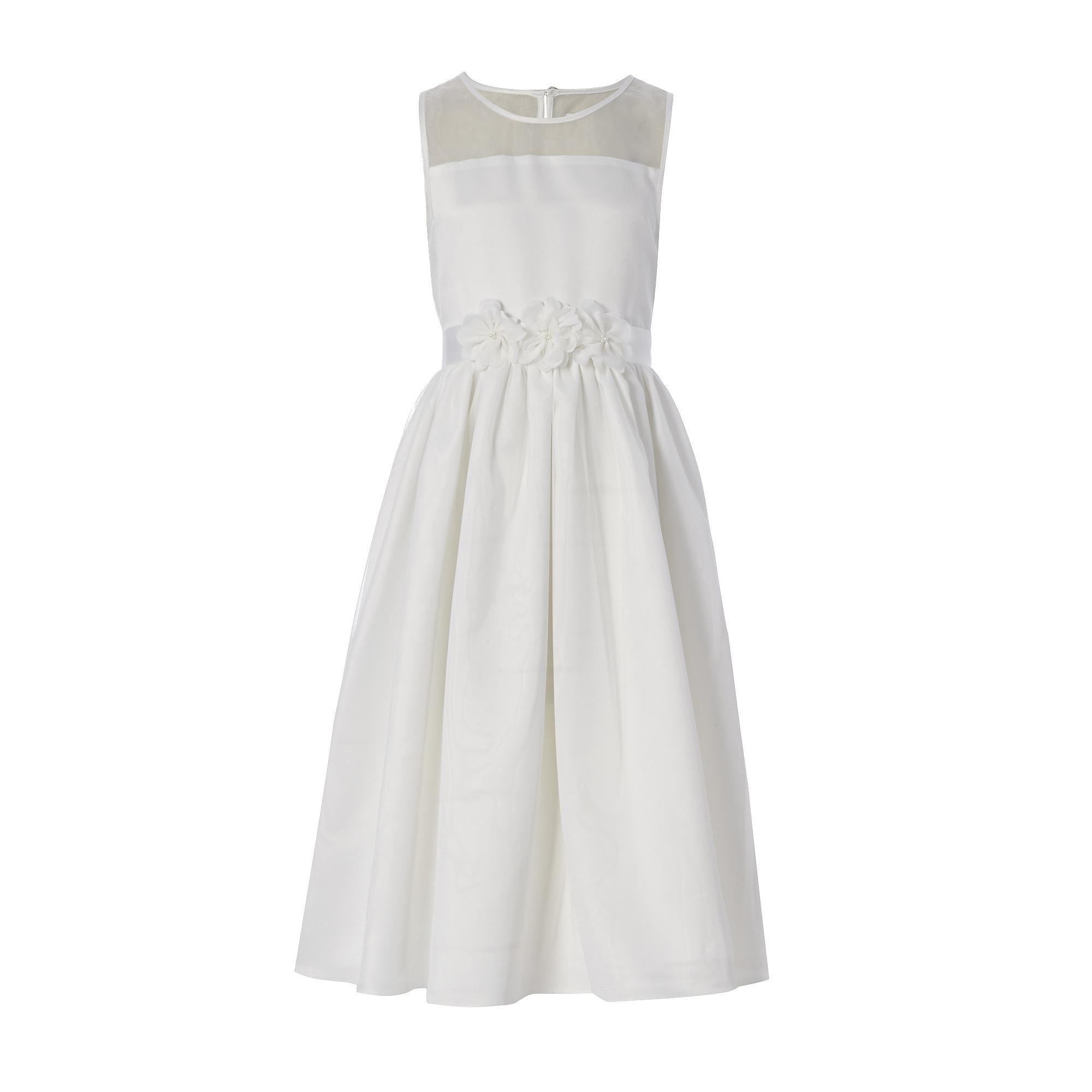 Designer girls ivory flower dress flower girl