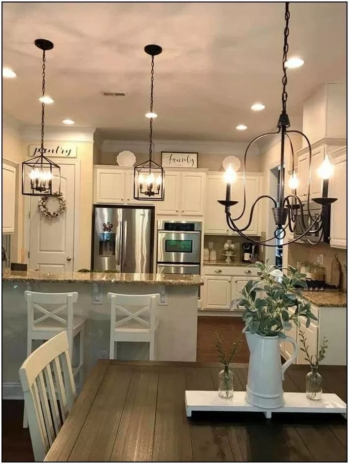 20 Captivating Farmhouse Lighting Design Ideas To Complete Your Decor In 2020 Farmhouse Dining Rooms Decor Farmhouse Lighting Dining Farmhouse Kitchen Design