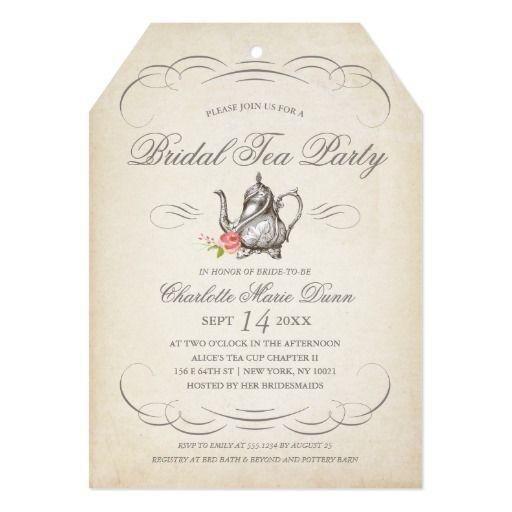 classy vintage bridal tea party | bridal shower card | classy, tea,