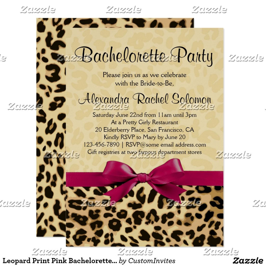 Leopard Print Pink Bachelorette Party Invitation | Pink bachelorette ...