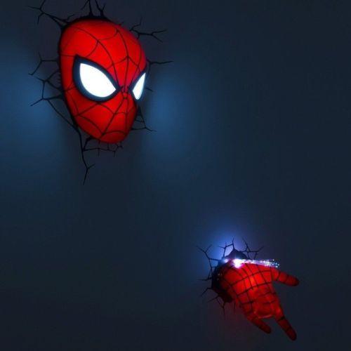 2 Pc Spiderman Mask Hand Set Nightlight Marvel 3d Wall Art Light Lamp Deco Kids Spiderman Room Kids Room Wall Murals Superhero Room