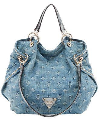 GUESS Dylan Denim Satchel ~ 2015 | Guess handbags, Guess