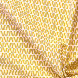 Katoen cretonne met geel motief