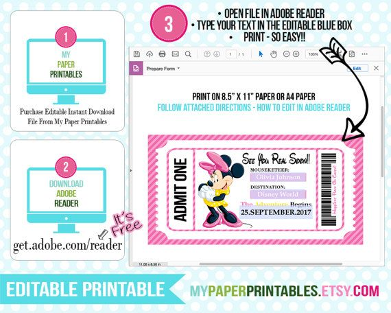 Printable Ticket To Disney DIY Personalize INSTANT DOWNLOAD   Printable  Ticket Paper  Printable Ticket Paper