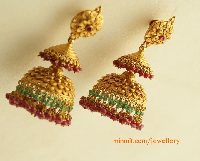 Gold Jhumkas From Png Jewellers Gold Jewellery Design Jhumka