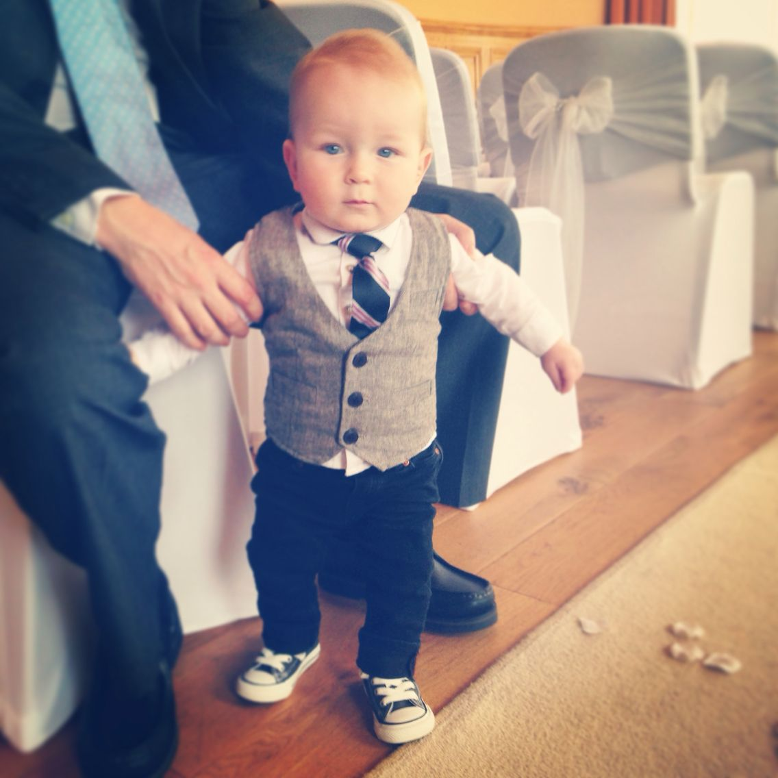 3f09b8f314d3 Baby boy style. Tweed waistcoat and black skinny jeans with baby converse