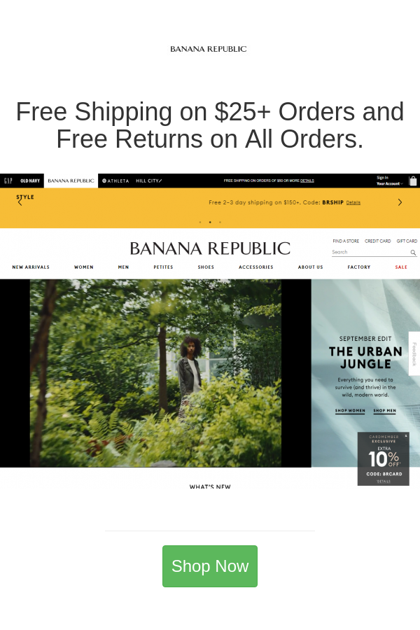 Free Shipping On 25 Orders And Free Returns On All Orders In 2020 Banana Republic Republic Urban Jungle
