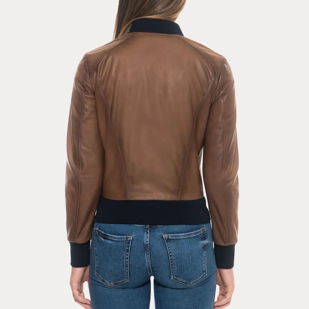 Womens Sugar Brown Lambskin Soft Bomber Leather Jacket Leather Jacket Style Leather Bomber Jacket Leather Jackets Women [ 1000 x 1000 Pixel ]