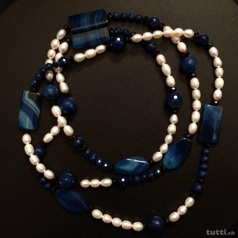 splendida collana in perle e pietre dure come da foto