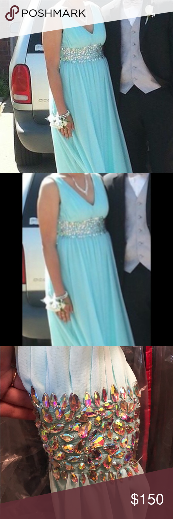 Blue prom dress holographic blue colors and prom