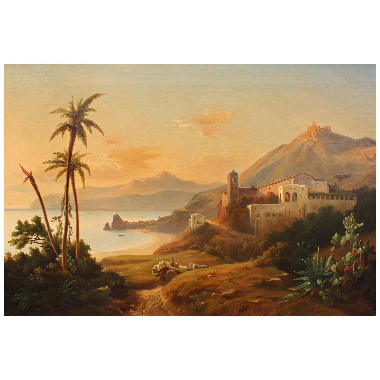 Oil Painting Italian Coast | Oil, Wall decorations and Decoration