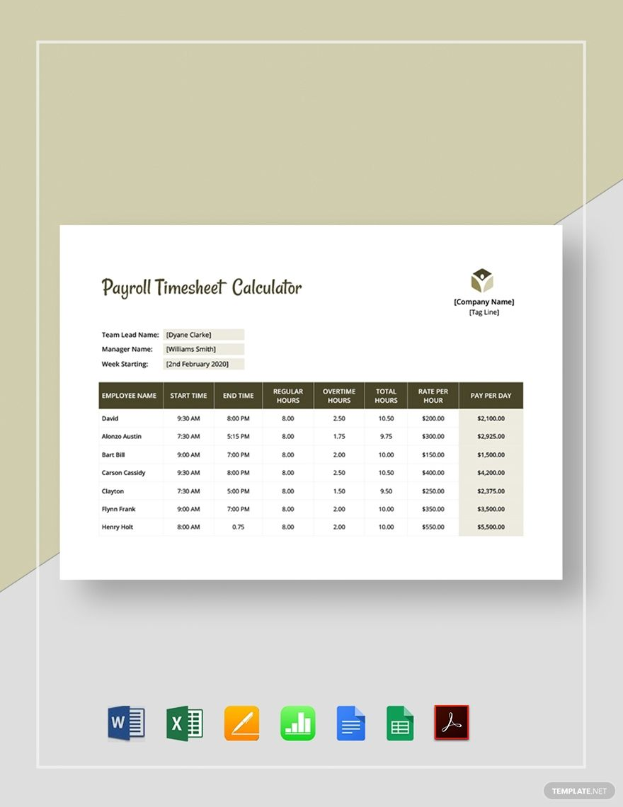 Payroll Timesheet Calculator Template In 2020 Payroll Templates Google Sheets