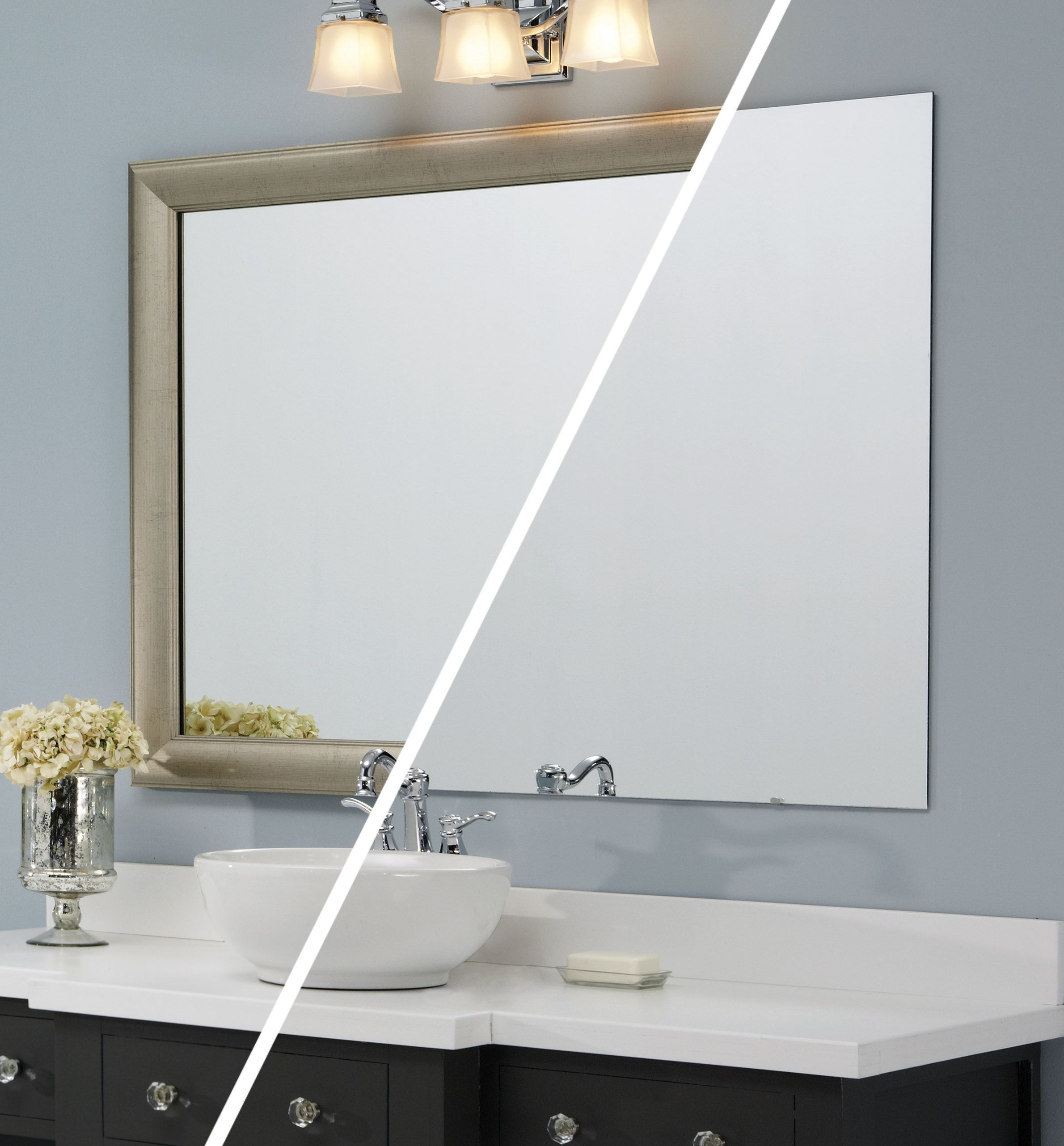 A frame was added directly to the plate glass mirror while on the ...
