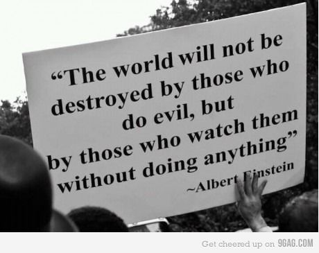 I've loved this statement since I first heard it many years ago!  It's when good men stand by and do nothing ...
