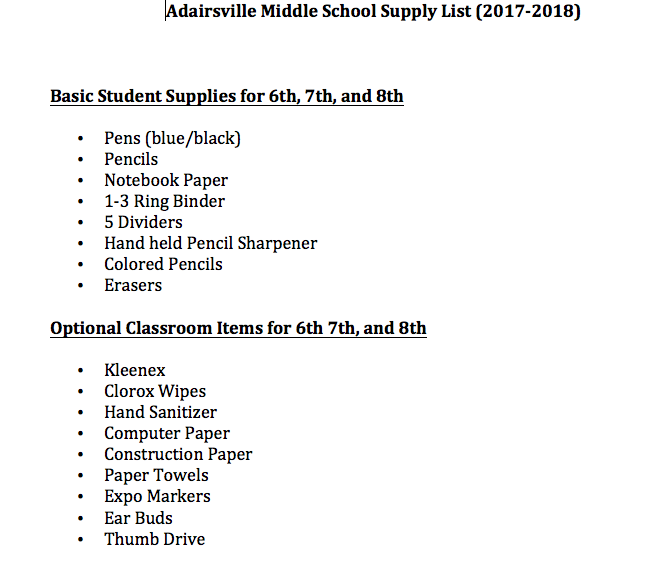 Adairsville Middle AMS School Supply List 20172018
