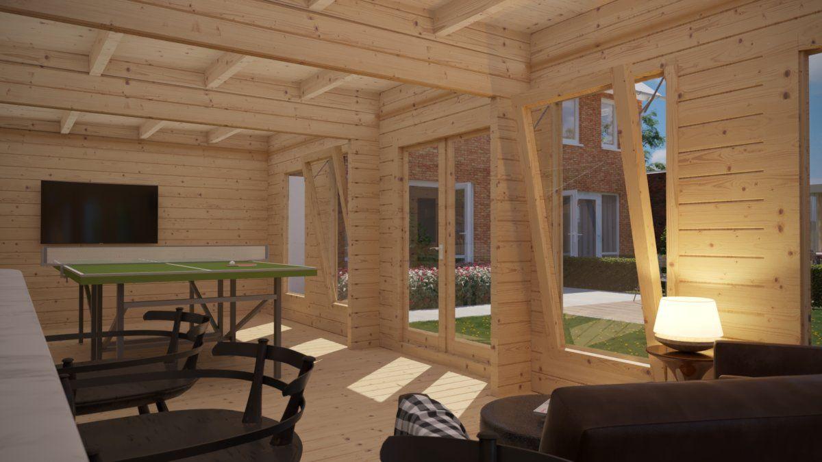 Gartenhaus Hansa A (Ein Tischtennis Raum Im Garten) 30m2 / 70mm / 4x8