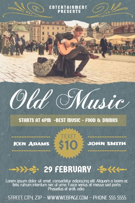 Old music Indie Street style concert band flyer template - band flyer template