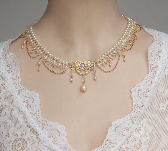 Bridal Necklace Pearls Vintage Statement Necklace