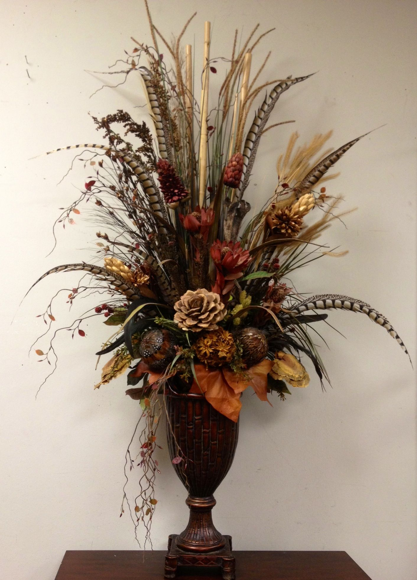 Dried preserved floral arrangement designed by arcadia for Floral decorations for home