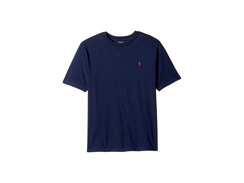 50a12208 Polo Ralph Lauren Kids Cotton Jersey Crew Neck T-Shirt (Big Kids) (Cruise  Navy) Boy's T Shirt. The Polo Ralph Lauren Kids Cotton Jersey Crew Neck T- Shirt is ...