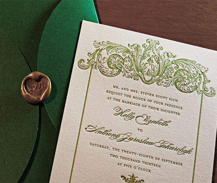 victorian style letterpress wedding invitation set keri with