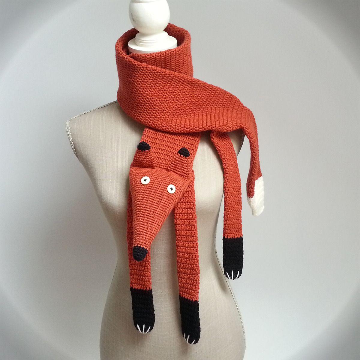 Echarpe au crochet renard originale en laine, fait main, fox scarf ...