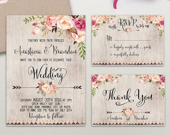 floral wedding invitation printable wedding invitation suite boho
