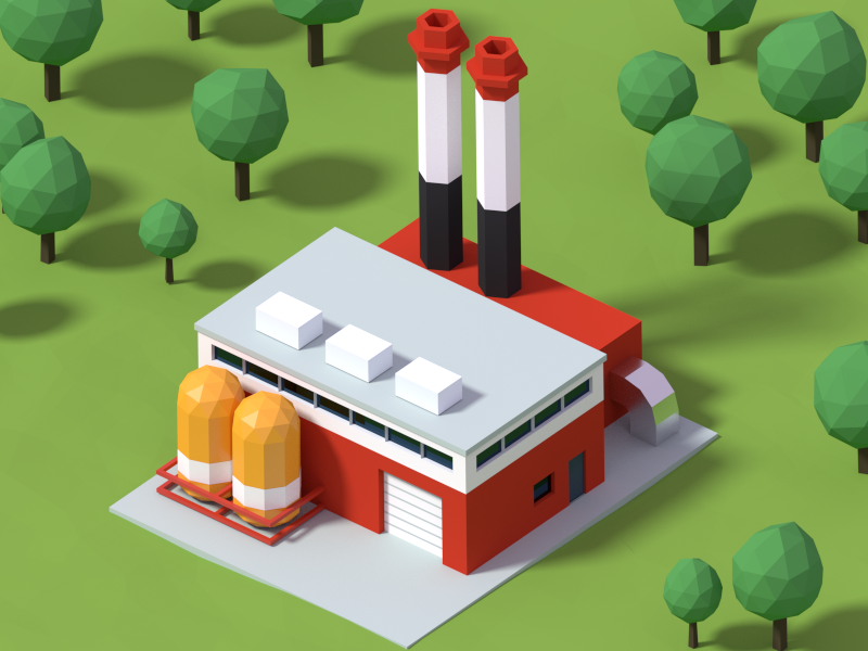 Factory Game Design Isometric Art Low Poly Art