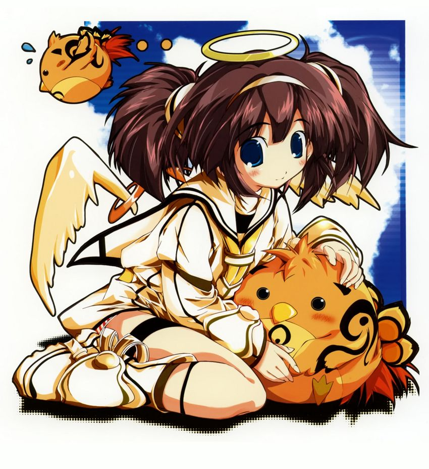 Here is a cute anime girl with two chibi chicks.