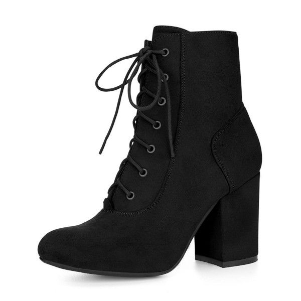 2733407b93c7b8 Women s Lace Up Chunky Heel Ankle Bootie - Black-3 3 8 Inches ...