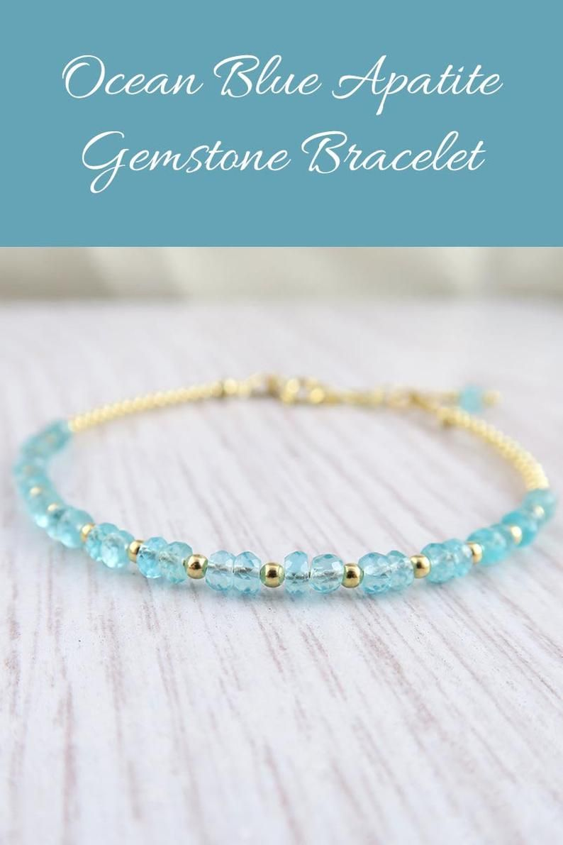 Natural Faceted Blue Apatite Necklace Available in sterling silver and 14K yellow or rose gold-filled.