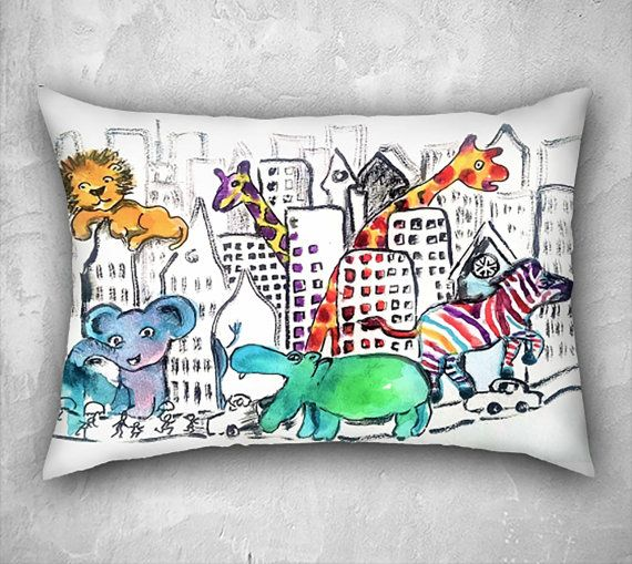 Zoo pillow, animal pillow covers, nursery pillows, nursery decor, cushion cover, funny animal art, zoo animals, children's room decor