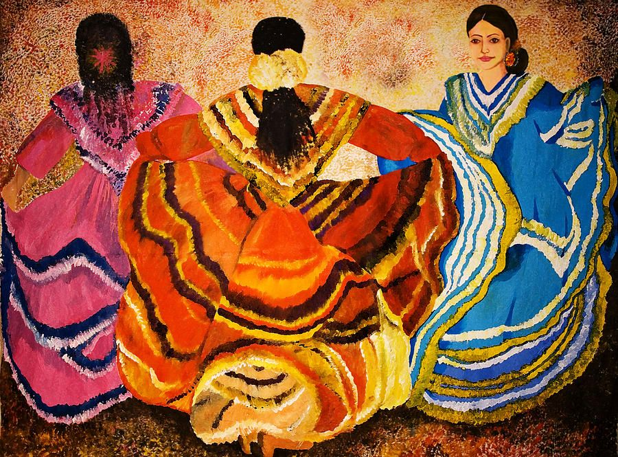 Mexican Fiesta By Sushobha Jenner Mexican Art Painting Mexican Culture Art Mexican Paintings