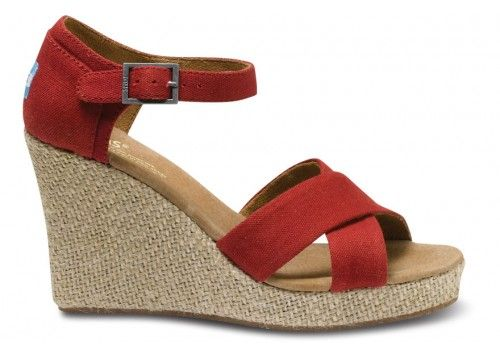 cecf0ce4617b Red Canvas Womens Strappy Wedges