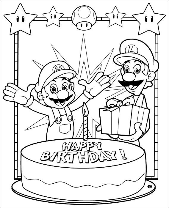 Colouring Pages H Y Birthday : Printable mario coloring pages bros free printables and