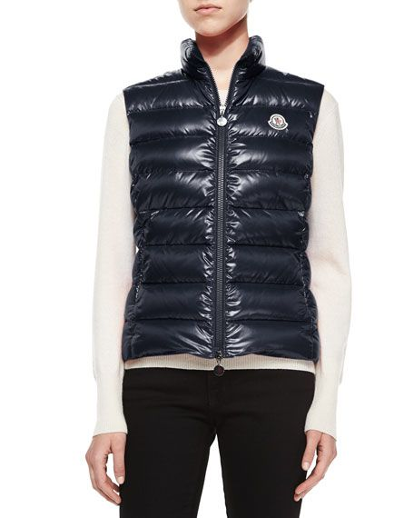 MONCLER Ghany Shiny Quilted Puffer Vest, Navy, Black. #moncler #cloth #