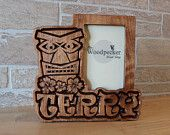 Tropical Themed Tiki personalized picture frame for kids or the big kahuna, by name, color and theme.  50+ designs at  WoodpeckerWoodShop on Etsy