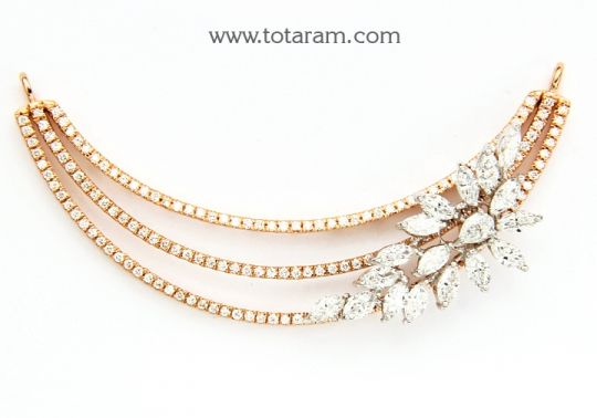 18K Gold Diamond Pendant with White Rose Gold Polish Totaram