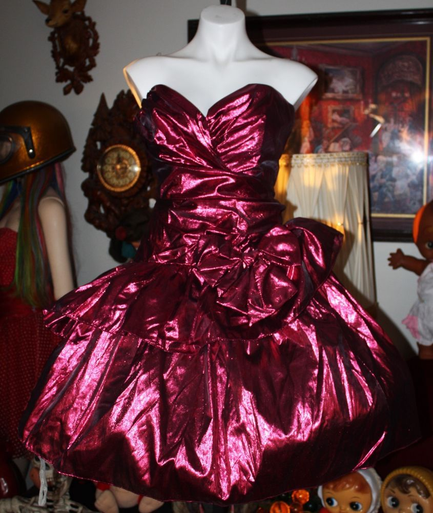 d2c5cafaefd VINTAGE 80 S PROM PARTY DRESS PINK METALLIC LORALIE RARE LARGER SIZE!!   promshoesvintage